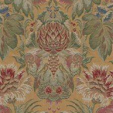 Yellow/Green/Burgundy Botanical Decorator Fabric by Kravet