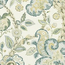 Aquamarine On Ivory Decorator Fabric by Scalamandre