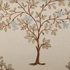 Aqua Embroidery Decorator Fabric by Highland Court