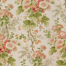 Coral/Apple Botanical Decorator Fabric by Lee Jofa