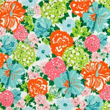 Aqua/Orange Outdoor Decorator Fabric by Lee Jofa