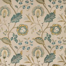 Teal Botanical Decorator Fabric by Lee Jofa