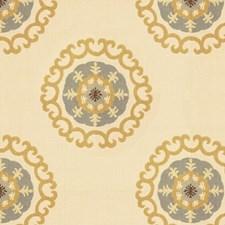 Beige/Yellow/Grey Medallion Decorator Fabric by Kravet