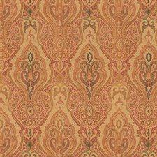 Beige/Burgundy/Red Damask Decorator Fabric by Kravet