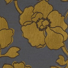Blue Gold Floral Decorator Fabric by Fabricut