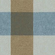 Indigo/Espresso/Light Blue Check Decorator Fabric by Kravet