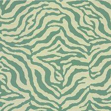 Turquoise/Ivory Animal Skins Decorator Fabric by Kravet