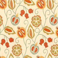 Ivory/Light Blue/Orange Botanical Decorator Fabric by Kravet