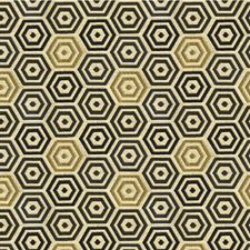 Blue Gold Geometric Decorator Fabric by Kravet