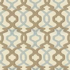 Blue/Taupe/Beige Lattice Decorator Fabric by Kravet