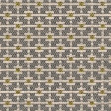 Yellow/Grey/Ivory Geometric Decorator Fabric by Kravet