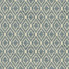 Blue/Ivory Diamond Decorator Fabric by Kravet