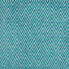Turquoise/White Herringbone Decorator Fabric by Kravet