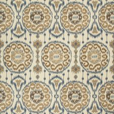 Blue/Light Blue/Brown Ethnic Decorator Fabric by Kravet
