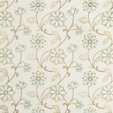 White/Turquoise/Bronze Botanical Decorator Fabric by Kravet