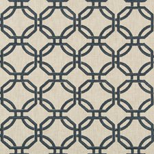 Neutral/Indigo Geometric Decorator Fabric by Kravet
