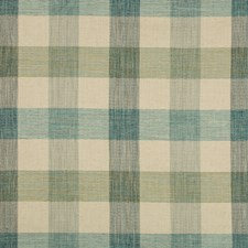 Turquoise/Ivory/Green Plaid Decorator Fabric by Kravet