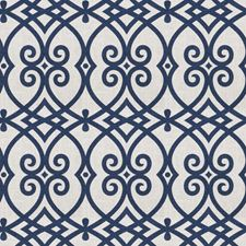Navy Geometric Decorator Fabric by Trend