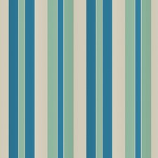 Cobalt Green Stripes Decorator Fabric by Vervain