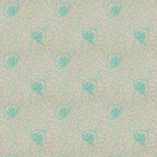 Turquoise Floral Decorator Fabric by Fabricut