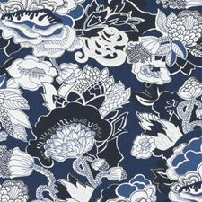 Navy Floral Large Decorator Fabric by Duralee