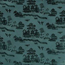 Teal Asian Decorator Fabric by Brunschwig & Fils