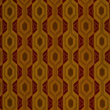 Earth Red Geometric Decorator Fabric by S. Harris