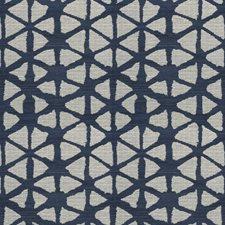 Navy Hemp Geometric Decorator Fabric by S. Harris