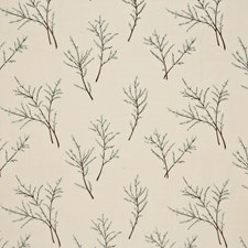 Ivory/Aqua Embroidery Decorator Fabric by G P & J Baker