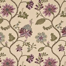 Aqua/Ivory Embroidery Decorator Fabric by G P & J Baker
