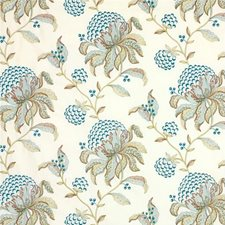 Teal/Green Embroidery Decorator Fabric by G P & J Baker