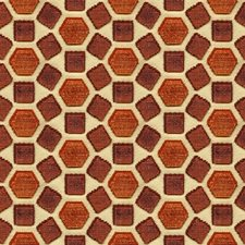Red Geometric Decorator Fabric by G P & J Baker