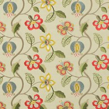 Red/Slate/Citron Embroidery Decorator Fabric by G P & J Baker