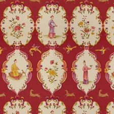 Lacquer Red/Purple Asian Decorator Fabric by Brunschwig & Fils