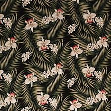 Black/Beige/Burgundy Tropical Decorator Fabric by Kravet