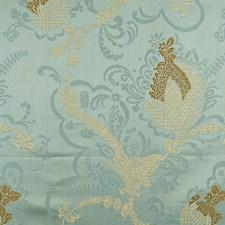 Gold/Linen On Aquamarine Decorator Fabric by Scalamandre