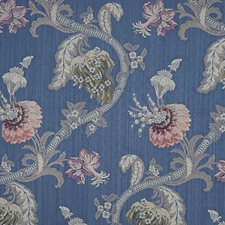 Multi On Blue Decorator Fabric by Scalamandre