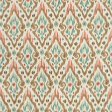 White/Coral/Turquoise Ethnic Decorator Fabric by Kravet