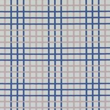 Natural/Blue Plaid Decorator Fabric by Duralee