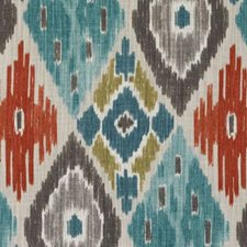 Turquoise/Olive Diamond Decorator Fabric by Duralee