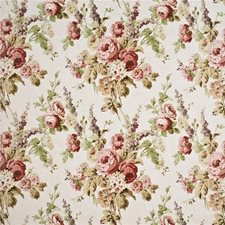 Pink/Green/Stone Botanical Decorator Fabric by Mulberry Home