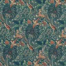 Teal Botanical Decorator Fabric by Mulberry Home