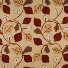 Red/Green/Gold Embroidery Decorator Fabric by Mulberry Home