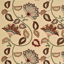 Red/Aqua Embroidery Decorator Fabric by Mulberry Home