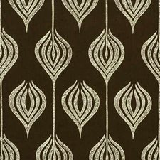 Chocolate/Cream Contemporary Decorator Fabric by Groundworks