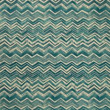 Turquoise/Neutral Flamestitch Decorator Fabric by Kravet