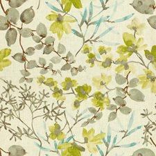 White/Green/Light Blue Botanical Decorator Fabric by Kravet