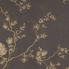Charcoal/Gold/Metallic Botanical Decorator Fabric by Kravet