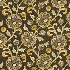 Grey/Yellow/Beige Botanical Decorator Fabric by Kravet