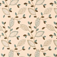 Teal/Biscuit Embroidery Decorator Fabric by Baker Lifestyle